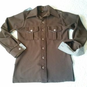 Vintage 70s Big Yank S Brown Pointed Button Shirt